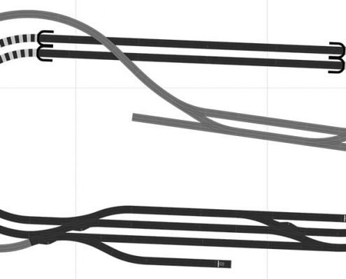 Gleisplan 2gleisige Hauptstrecke 1gleisige Nebenstrecke mit dem Märklin C Gleis