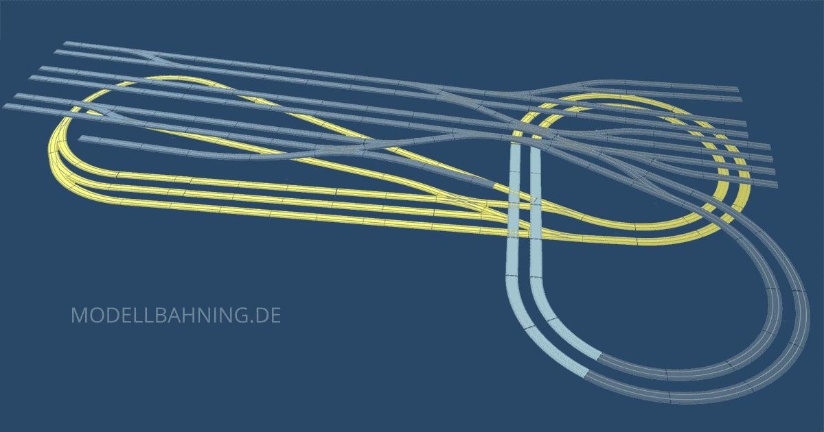 3D Darstellung H0-Gleisplan: Großer Kopfbahnhof auf kleinstem Raum für das Märklin C Gleis