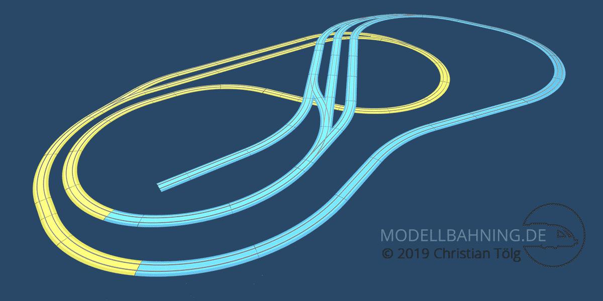 3D Darstellung des Gleisplans um das Höhenprofil zu veranschaulichen
