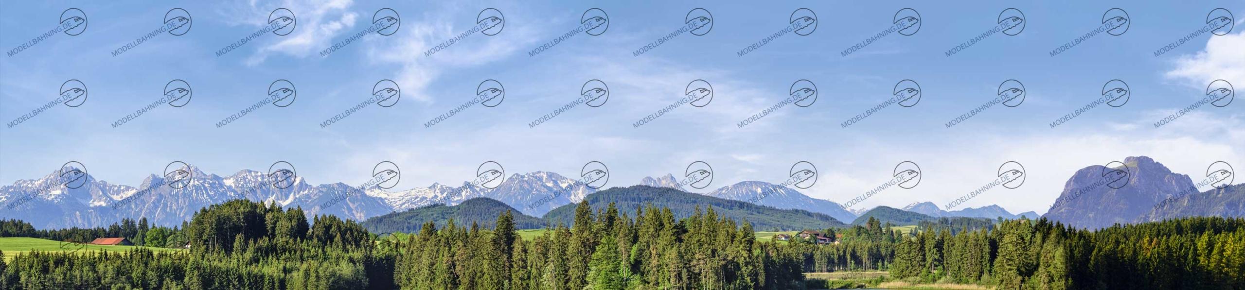 Bayern mit Alpenbergen Teil 3 – Modellbahn Hintergrund 300cm x 70 cm 4