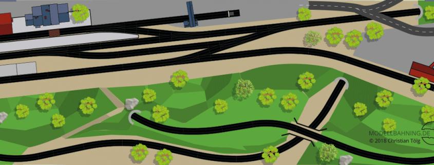 Gleisplan H0, eingleisige Spirale bewirkt viel Strecke