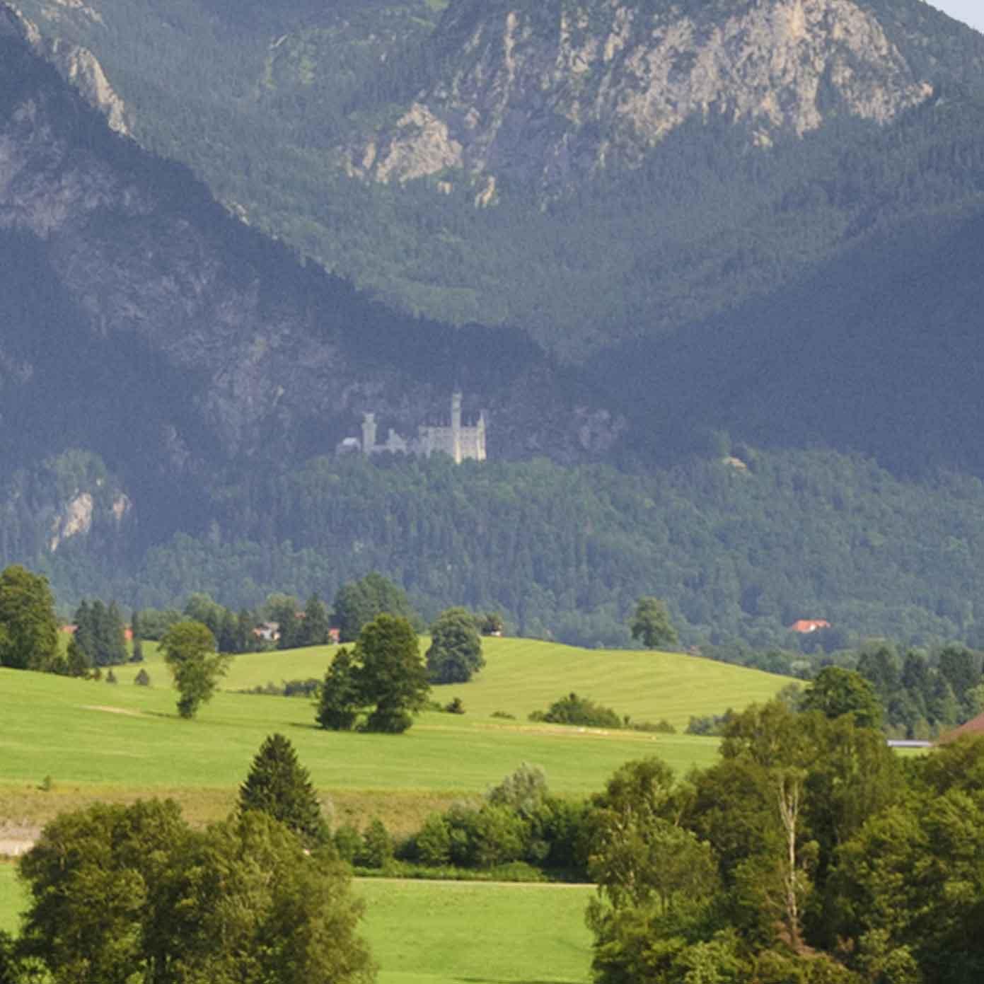 """Allgäu Teil 2 """"Wiesen vor Alpenpanorama"""" – Modellbahn Hintergrund 300cm x 70 cm 2"""