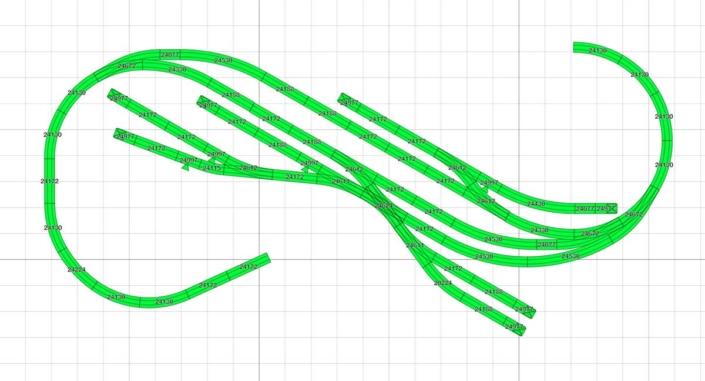 H0 Gleisplan Ebene 1 mit Bahnhofsbereich mit Abstellgleis, Betriebshof und Zufahrt zum Sägewerk