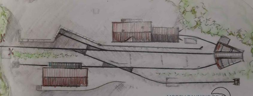 Gleisplan-Skizze Kleiner Endbahnhof mit Segmentdrehscheibe und Lokschuppen
