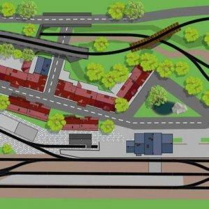 H0 Gleisplan mit dem Märklin C-Gleis. Zweigleisige Hauptstrecke und eingleisige Nebenbahn auf 3 x 1,2 Meter mit zwei Bahnhöfen und einem Industrieanschluss.
