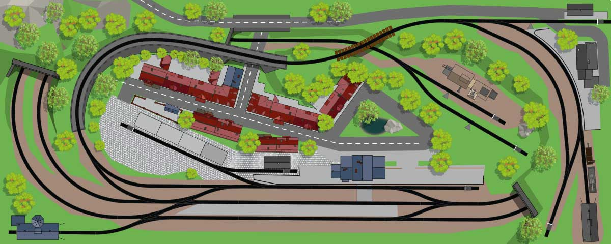H0 Gleisplan Zweigleisige Hauptstrecke mit eingleisiger Nebenbahn auf 300x120cm
