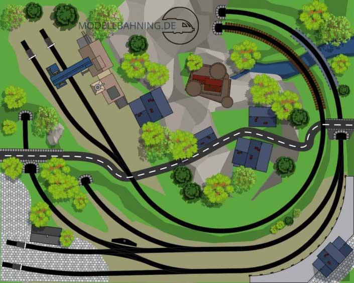 Gleisplan Kleinstanlage Mittelberg auf 1 x 1,25 Meter. Oval mit Stichstrecke Märklin C-Gleis