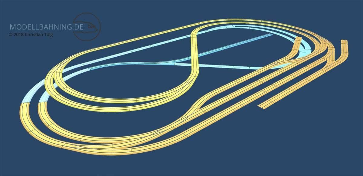 H0 Gleisplan mit dem Märklin C-Gleis in drei Ebenen auf 2,2 x 1,2 Meter mit zwei Bahnhöfen und Industrieanschluss 3D
