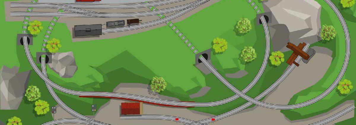 H0 Gleisplan PIKO A Spirale auf 250 x 140 cm