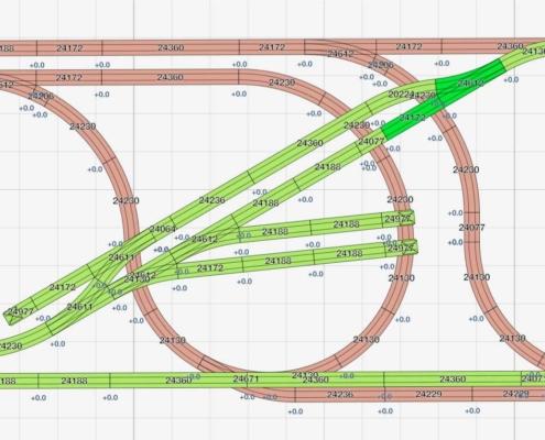 H0 Gleisplan auf 2,5m x 1,2m