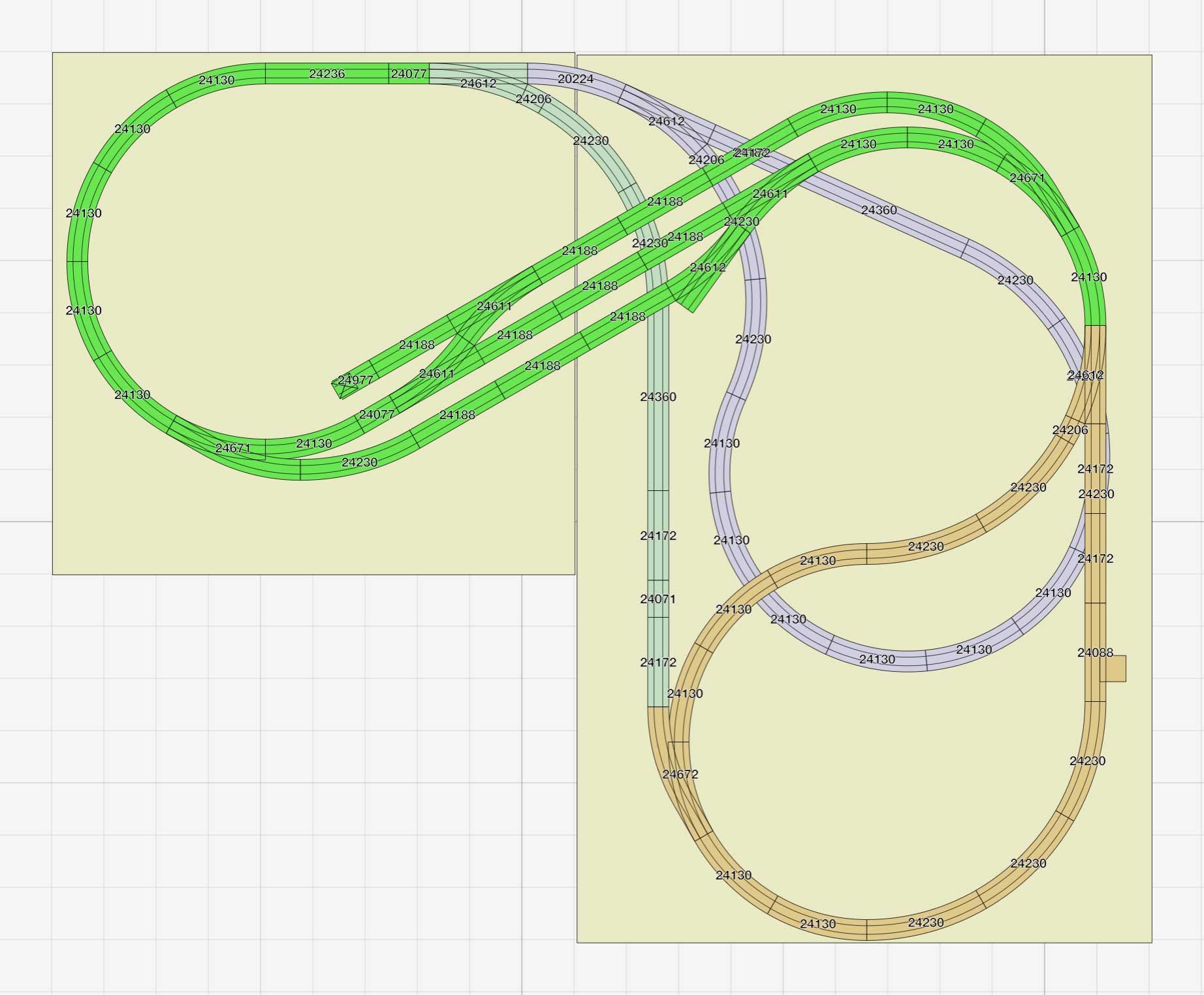 Märklin C-Gleis Gleisplan kompaktes L mit Zufahrt zum Sdhattenbahnhof oder wie abgebieldet eine kleine Kehrschleife in unterer Ebene