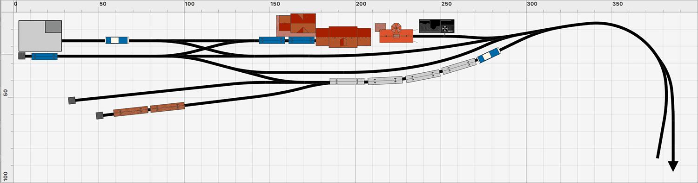 Endbahnhof nach Gräfenberg: kompakte Version mit dem Roco Line Gleis auf 4 x 0,7 Meter zzgl. Fiddleyard