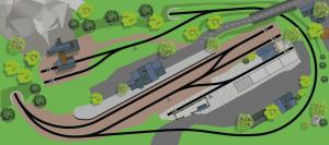 H0 Gleisplan auf 2,5 x 1 m: Steinhausen – Oval mit Köpfchen 1