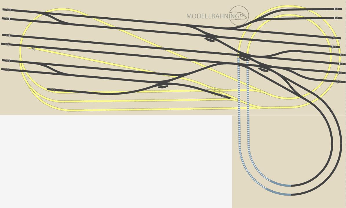 H0-Gleisplan: Großer Kopfbahnhof auf kleinstem Raum für das Märklin C Gleis