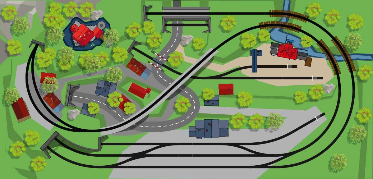 H0 Gleisplan mit dem Märklin C-Gleis in drei Ebenen auf 2,2 x 1,2 Meter mit zwei Bahnhöfen und Industrieanschluss