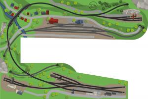 H0 Gleisplan U-Form auf 5m x 3,4m