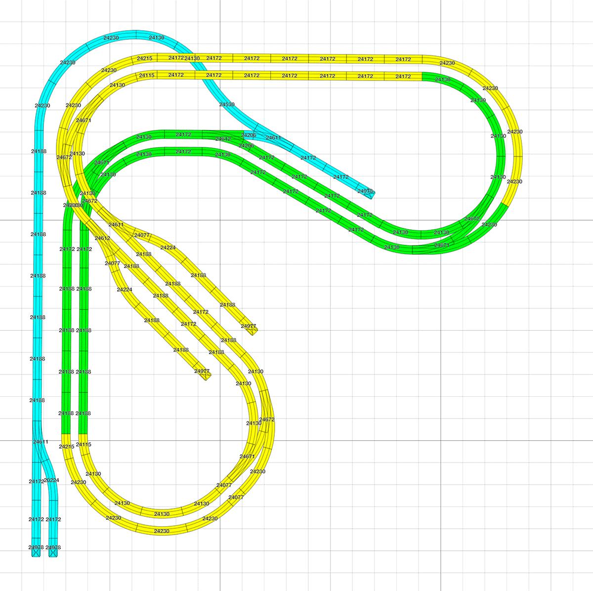 Kleiner H0 Gleisplan mit Pendelstreckein L Form ca. 2,4 x 2,5 m 2