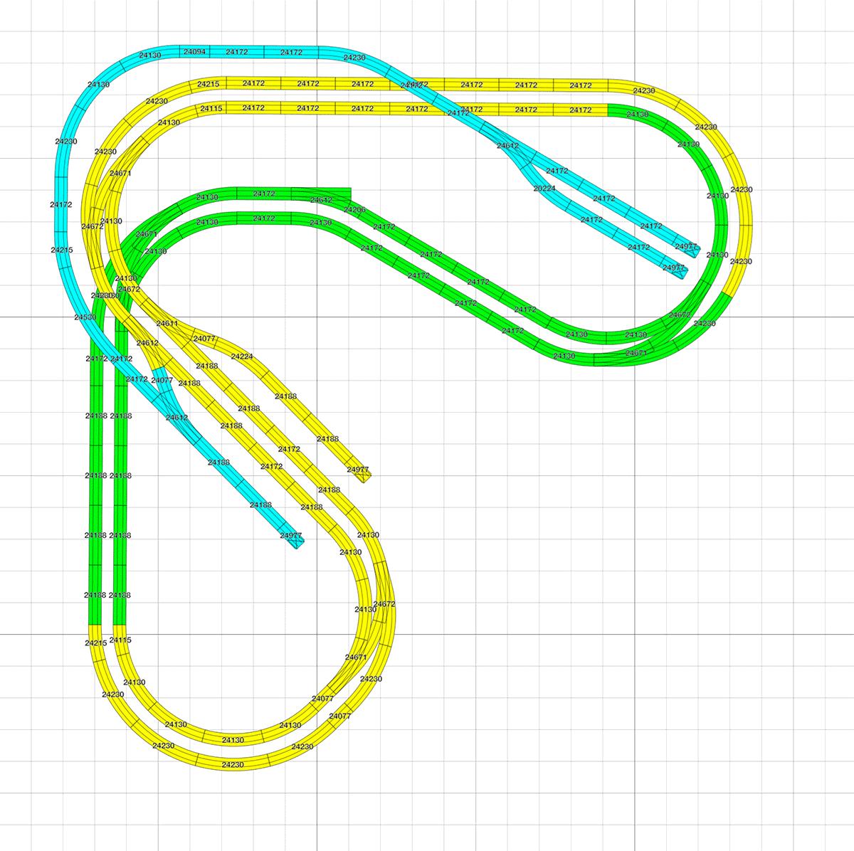 Kleiner H0 Gleisplan mit Pendelstreckein L Form ca. 2,4 x 2,5 m 1