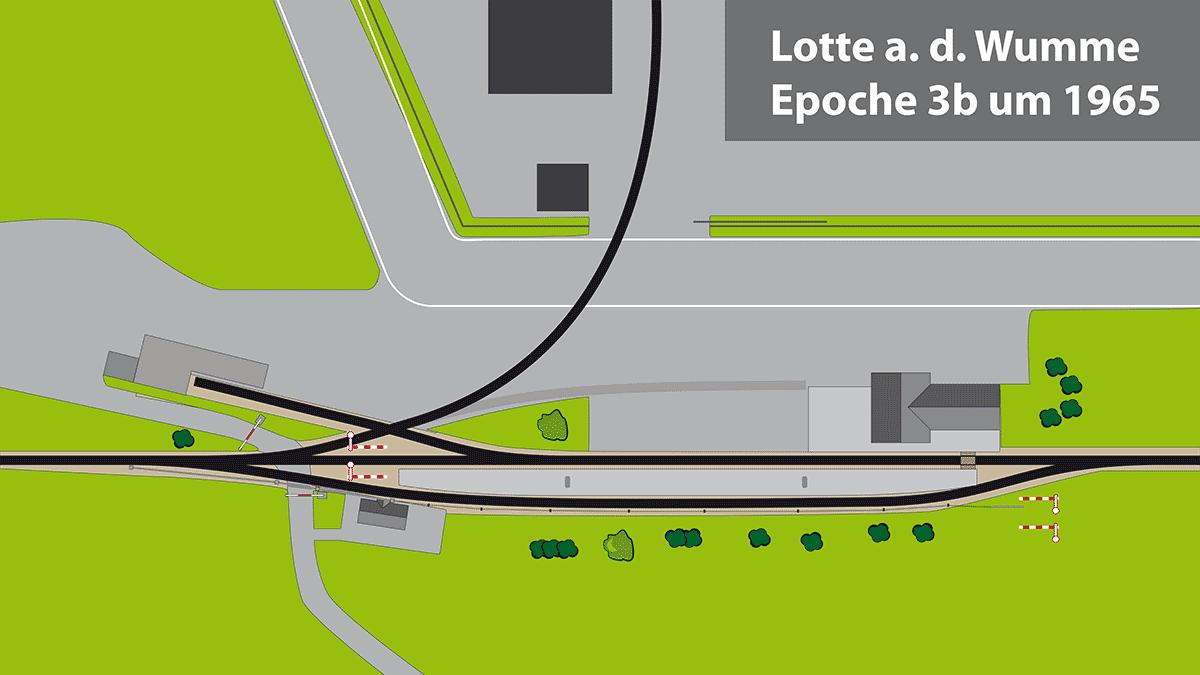 Gleisplan Bahnhof Lotte Epoche 3 b ca. 1965