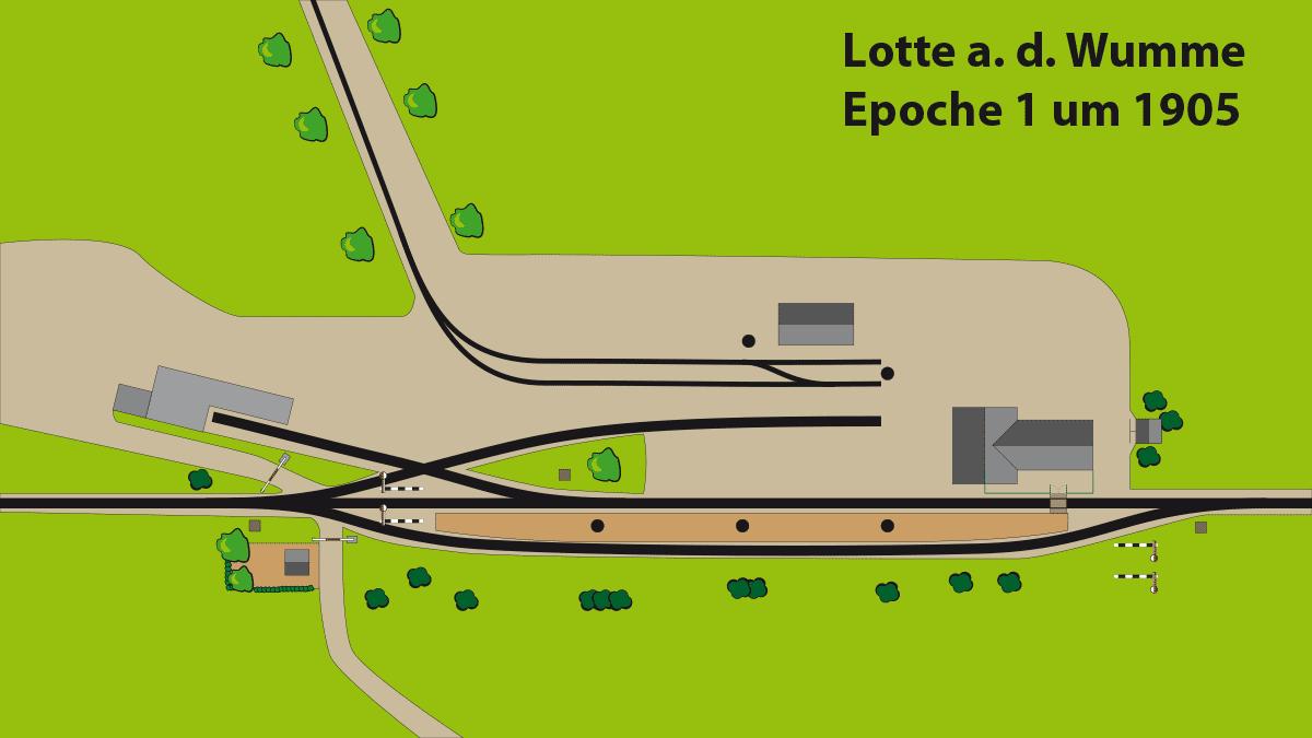 Draufsicht Gleisplan Bahnhof Lotte Epoche 1 ca. 1905.
