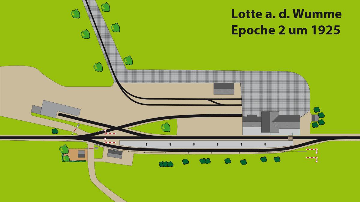 Gleisplan Bahnhof Lotte Epoche2 ca. 1925.