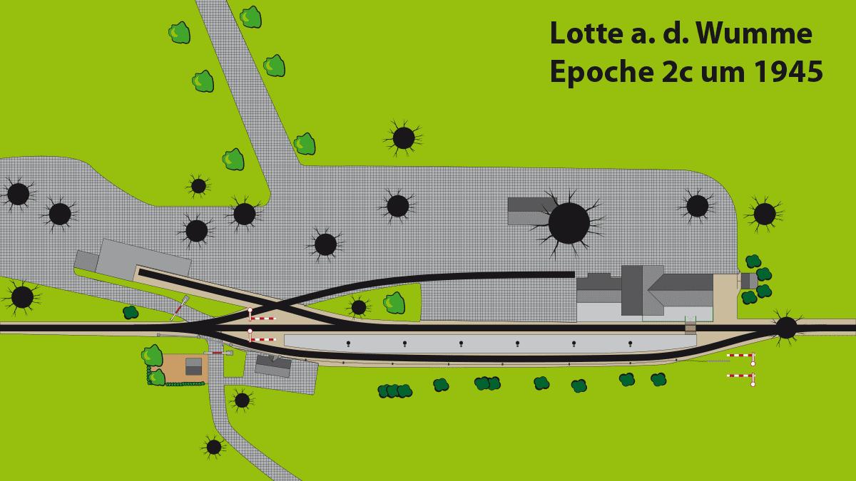 Draufsicht Gleisplan Bahnhof Lotte Epoche 2c ca. 1945.