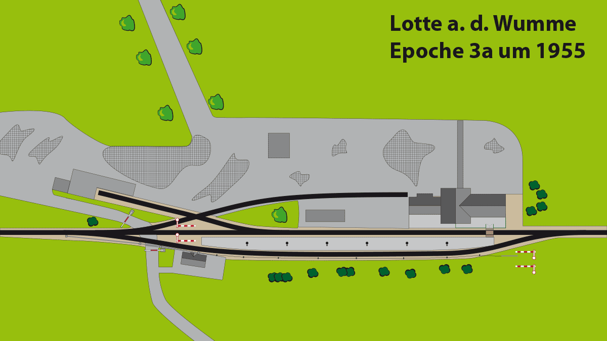Gleisplan Bahnhof Lotte an der Wumme Epoche 3a ca. 1955