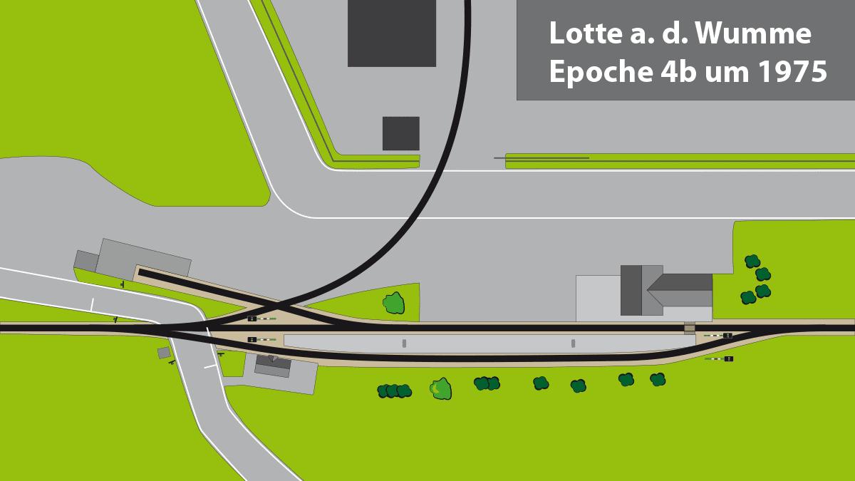 Gleisplan Bahnhof Lotte an der Wumme Epoche 4b ca. 1975.