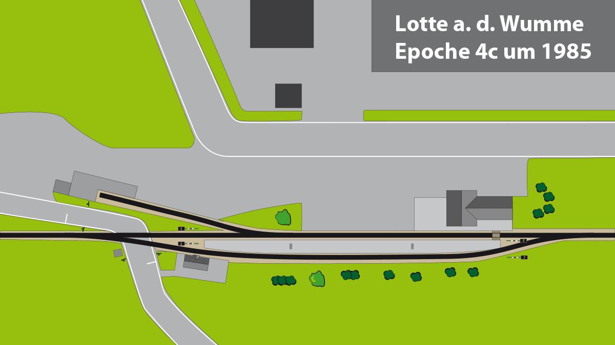 Gleisplan Landbahnhof in Epoche 4c ca. 1985
