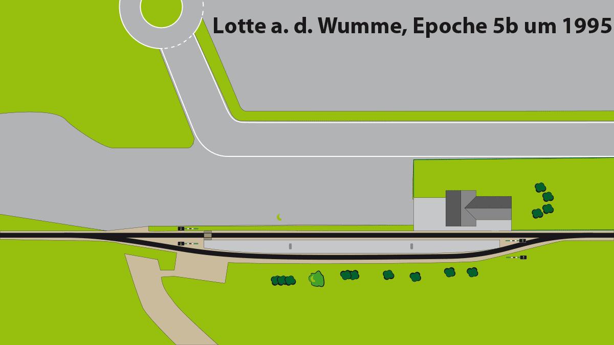 Gleisplan Landbahnhof Lotte a. d. Wumme in Epoche 5b ca. 1995, Gleisplan