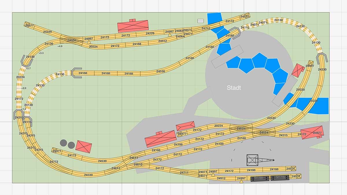 Märklin Gleisplan: Große C-Gleis Radien auf unter 4qm