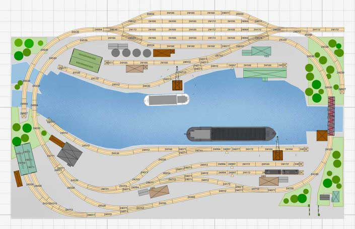 Märklin H0 Gleisplan mit Binnenhafen