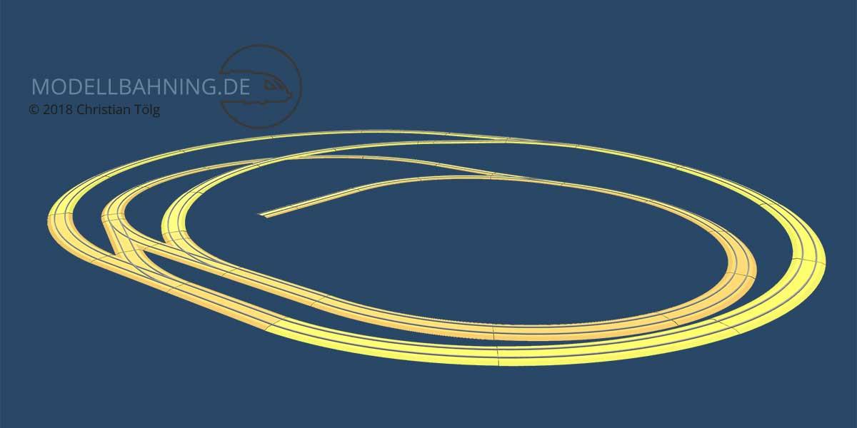 3d Darstellung des Gleisplans zur Minianlage mit 2 Kreisen