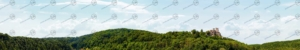 Modellbahn Hintergrund mit mittelalterlicher Burgruine auf einem Hügel.
