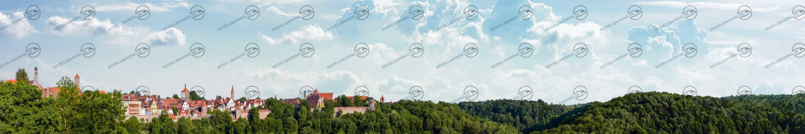 """Mittelgebirge Teil 1 """"Rothenburg"""" – Modellbahn Hintergrund 300cm x 50 cm 1"""