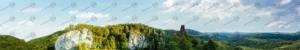 """Mittelgebirge Teil 3 """"Kelheim"""" – Modellbahn Hintergrund 300cm x 50 cm 3"""
