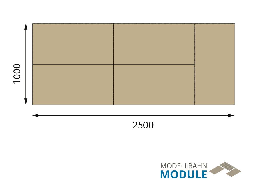 H0 Gleisplan auf 2,5 x 1 m: Steinhausen – Oval mit Köpfchen 2