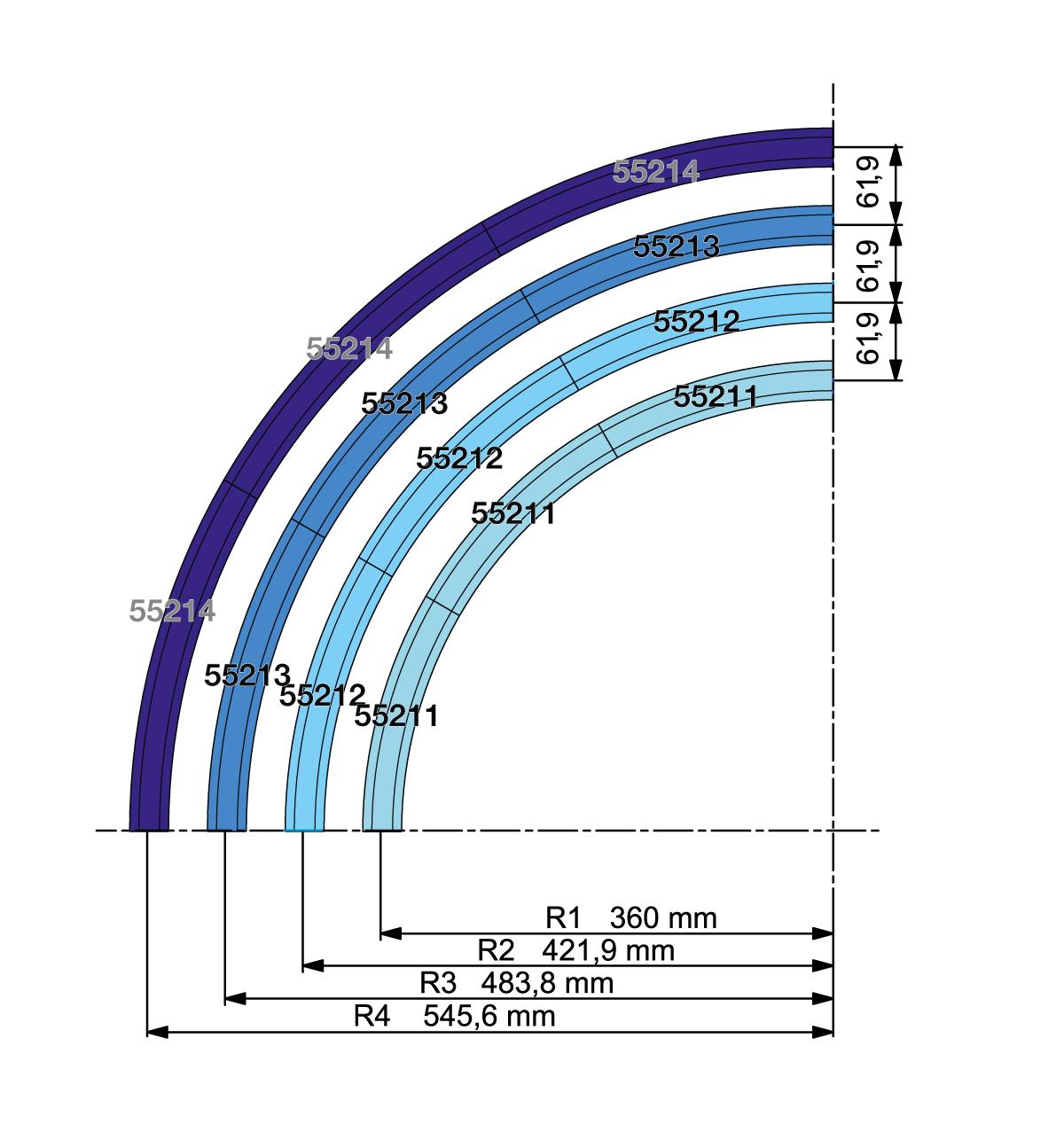 Die PIKO A Gleis Radien R1, R2, R3 und R4 im Schema