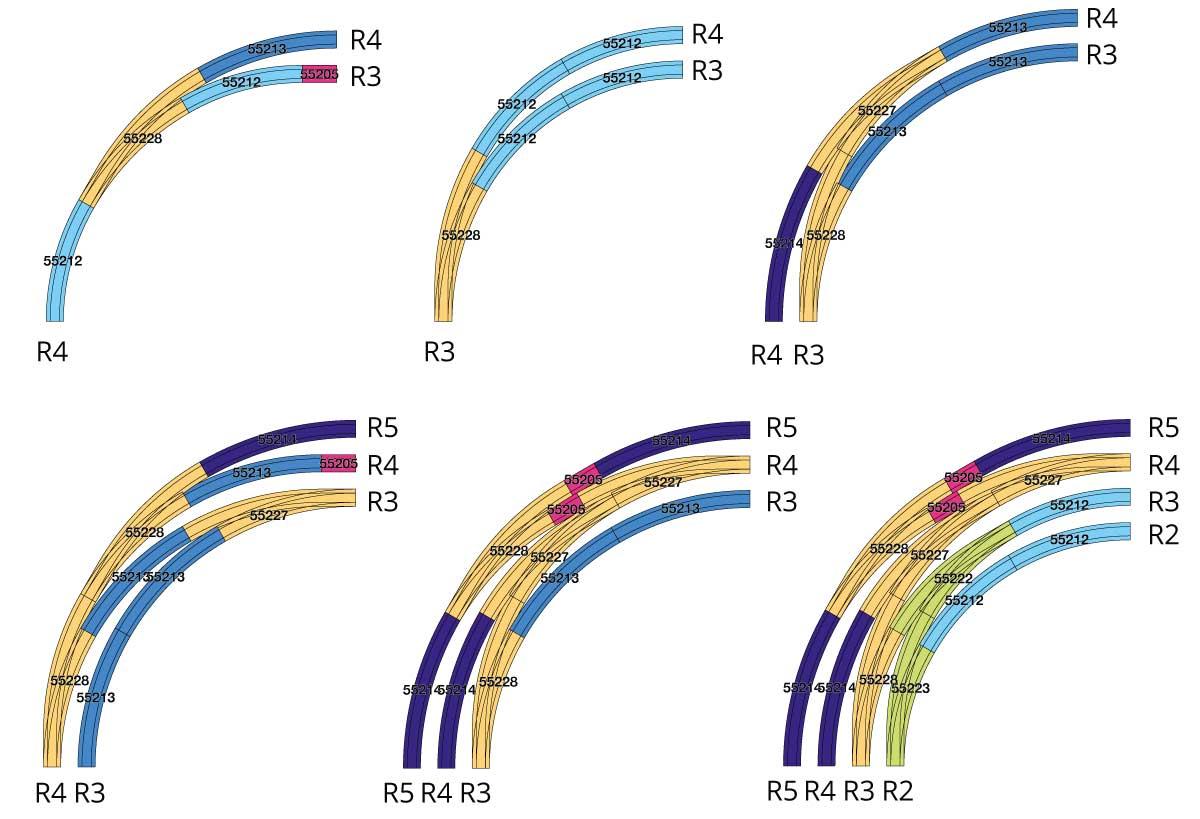 Verschiedene Beispiele zum Einsatz der PIKO A Bogenweichen R3 und R4
