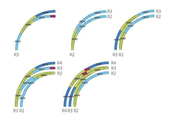 Verschiedene Beispiele zum Einsatz der PIKO A Bogenweichen R2 und R3