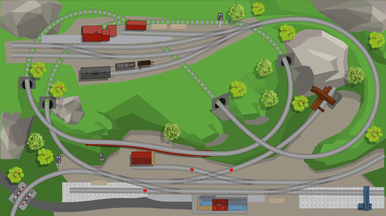 H0 Gleisplan: Spirale mit Spitzkehre und Endbahnhof auf 250 x 140 cm 1