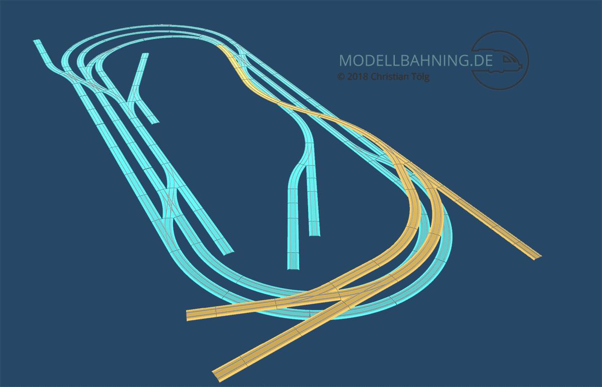 3D Darstellung des Gleisplans : Zweigleisige Hauptstrecke und eingleisige Nebenbahn