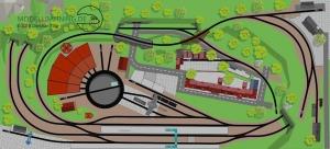 Gestaltungsvorschlag für den H0 Gleisplan: 2gleisige Hauptstrecke, Nebenbahn und Drehscheibe mit Ringlokschuppen