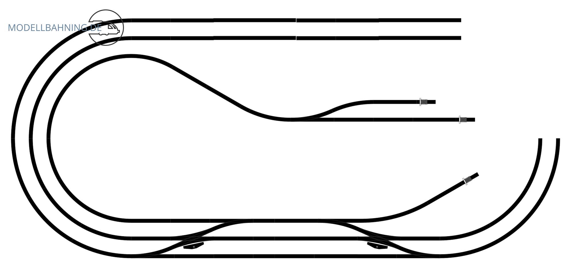H0 Gleisplan auf 2,5 x 1,2 m: <br>Hundeknochen in drei Ebenen 3