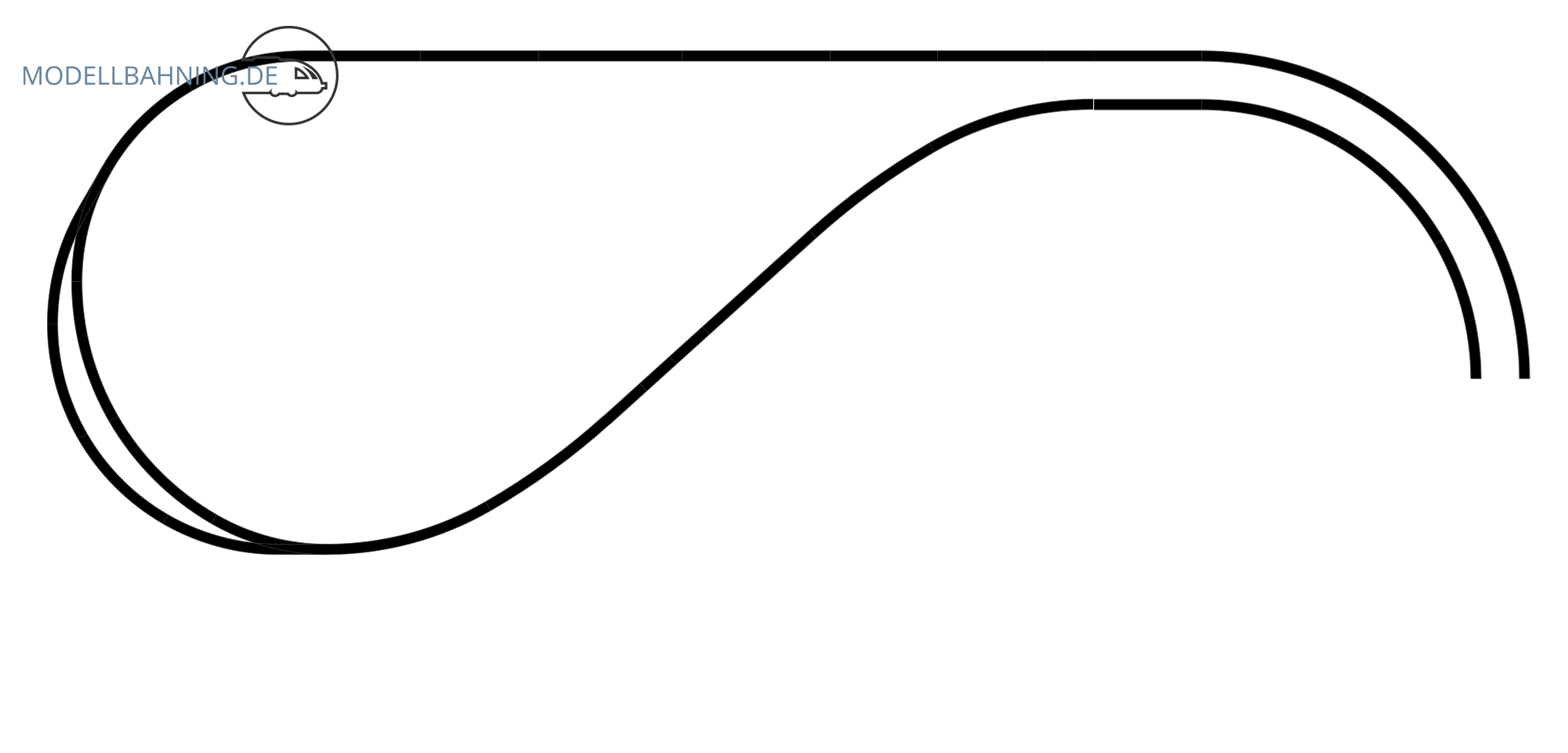H0 Gleisplan auf 2,5 x 1,2 m: <br>Hundeknochen in drei Ebenen 2