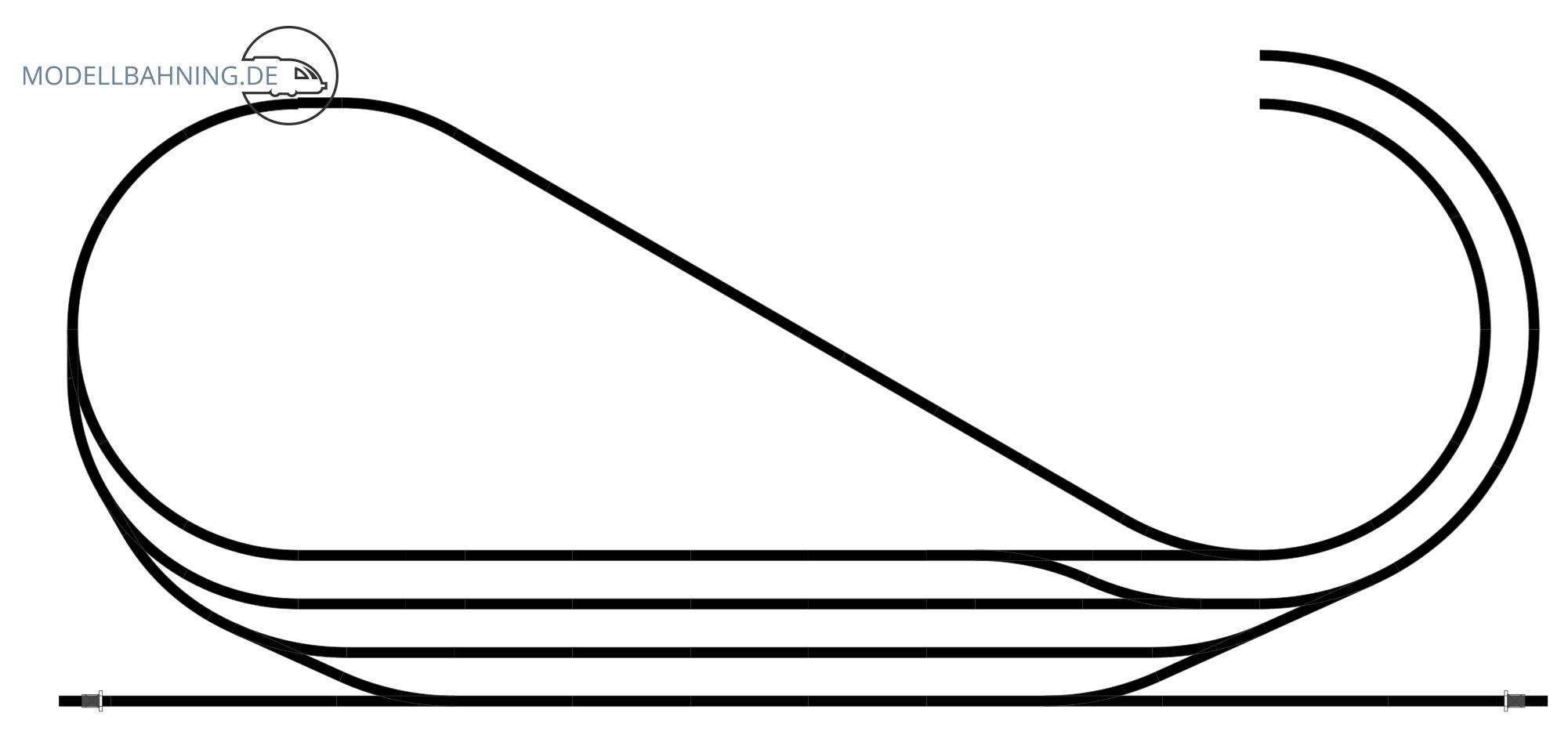 H0 Gleisplan auf 2,5 x 1,2 m: <br>Hundeknochen in drei Ebenen 4