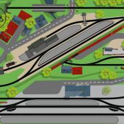 Märklin Gleisplan mit dem C-Gleis: Hundeknochen mit zwei Bahnhöfen und Nebenstrecke Gleisanschluss auf 275x120