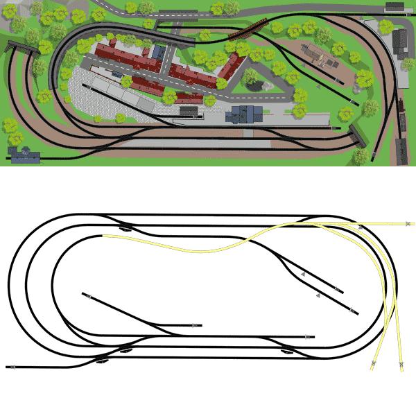 Gleisplan zweigleisige Hauptstrecke eingleisige Nebenbahn