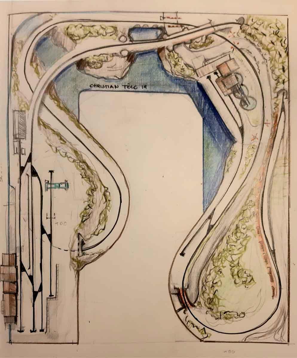 Gleisplan-Skizze für einen H0 Gleisplan mit Endbahnhof und Industrieanschluss auf einem U 2,5x3 m