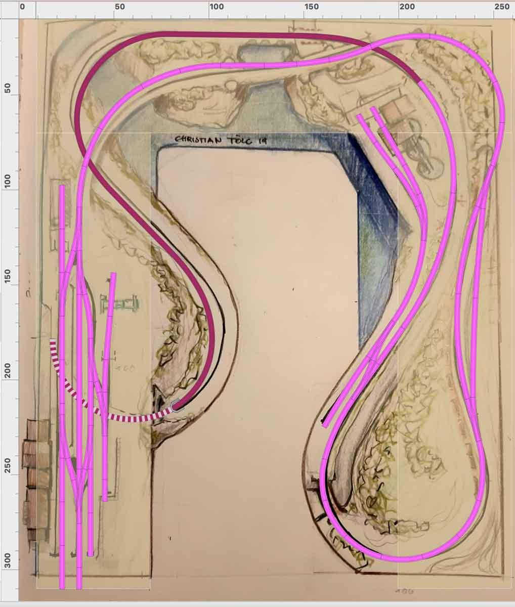 Skizze für einen H0 Gleisplan mit Endbahnhof und Industrieanschluss auf einem U 2,5x3 m